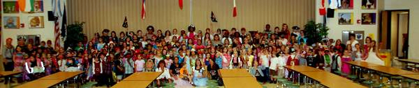 "Students and staff dressed for Pirates and Princesses ""Pay to Play"" day."